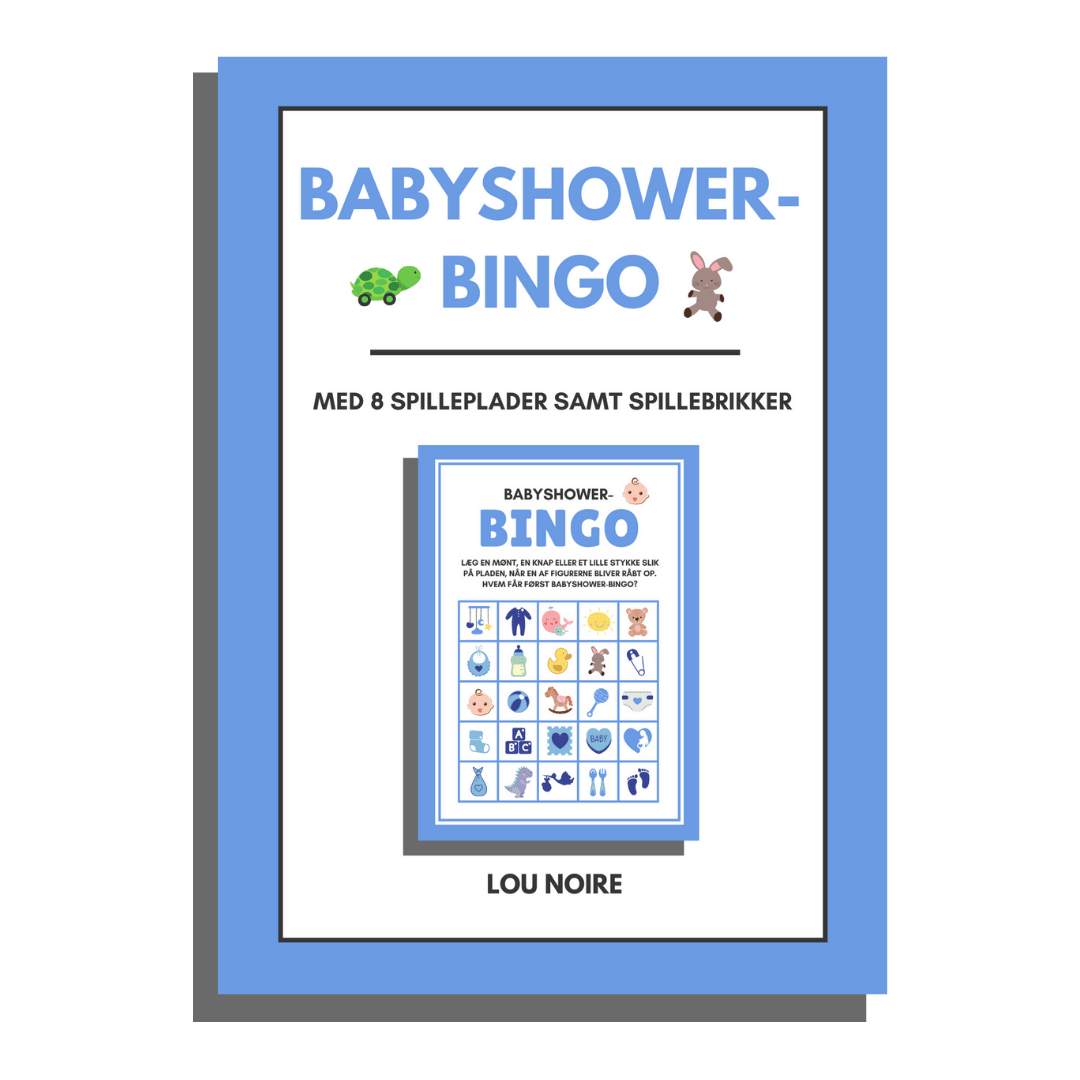 Babyshower-bingo - Blå - Lou Noire - Cover