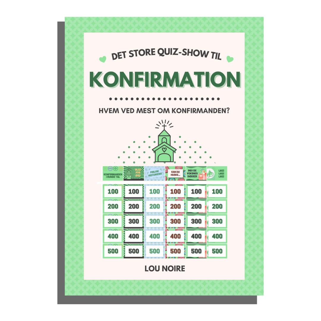 Det store quiz-show til konfirmation - grøn - Lou Noire - cover