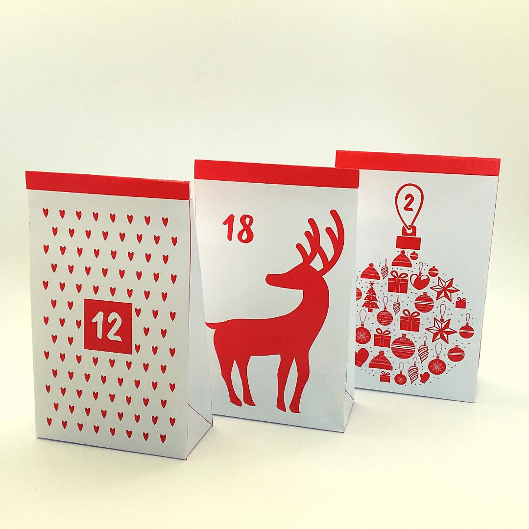En julekalender med 24 poser - Lou Noire - røde papirposer til pakkekalender